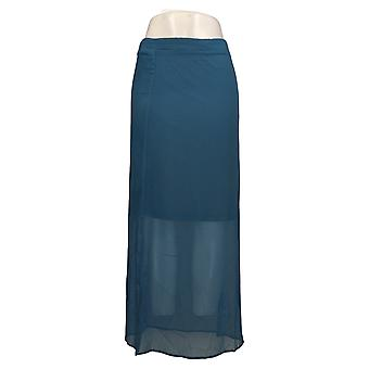 H By Halston Skirt Chiffon Maxi With Knit Lining Blue A276473
