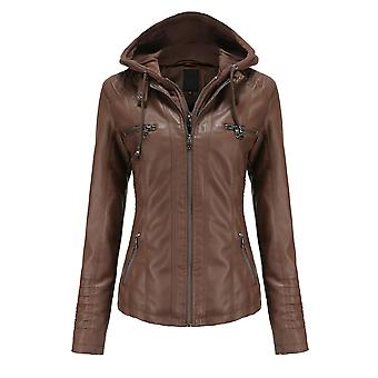 Mile Women Faux Leather Jacket Motorcycle Coat For Biker With Removable Hood