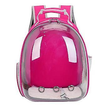 Cat Carrier Backpack,Space Capsule Knapsack Pet Travel Bag Waterproof Breathable(Rose Red)