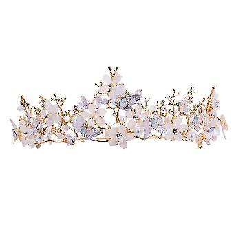 Butterfly Gold Crown Pää riisuttu morsian häät prinsessa Diadem