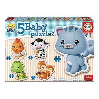 5-Puzzle Set Baby Educa animals (19 pcs)