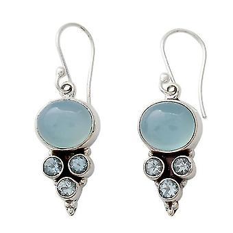 Antique Style Geometry Drop Earrings Light Blue
