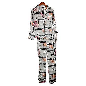 Tolani Kollektion Damen Pyjama Set Plaid Long Sleeve Schwarz/Weiß A390127