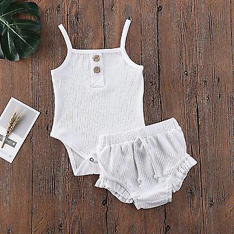 Pasgeboren Baby Solid Clothes Tops Vest Shorts Broek