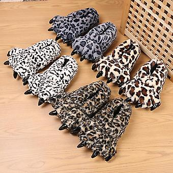 Homemiyn Adult Animal Monster Plush Leopard Paw Claw Slippers Winter House Home Shoes