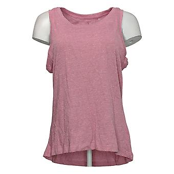 Danskin Women's Top Ladies Tank Sustainable Cotton Knit Heather Pink