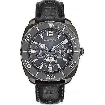 Nautica Preto Preto Genuíno Couro NAPBHS903 Relógio Masculino
