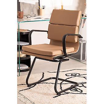 SKLUM Bureaustoel met armleuningen Mina Black Kunstleer - Staal        Bruin - Praliné