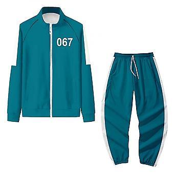 Caraele Squid Game Jacket Pants Cosplay Sports Zipper Cardigan Digital 067 Printing Pocket Sweatshirts Set