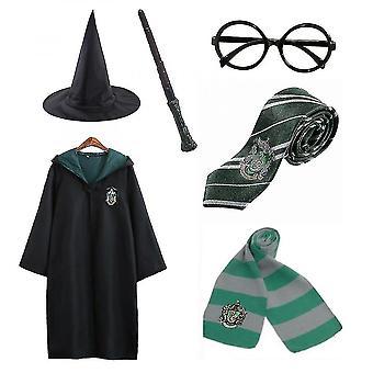 Harry Potter 6pc Set Magic Wizard Cosplay Fancy Dress Cape Cloak Costume