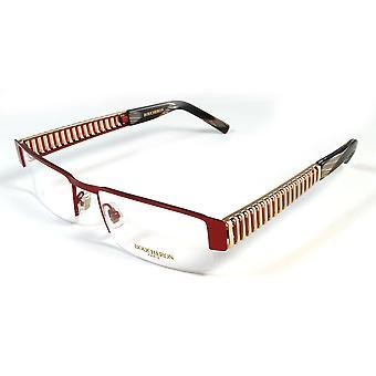 Boucheron Unisex sottile rettangolare occhiali rosso/oro