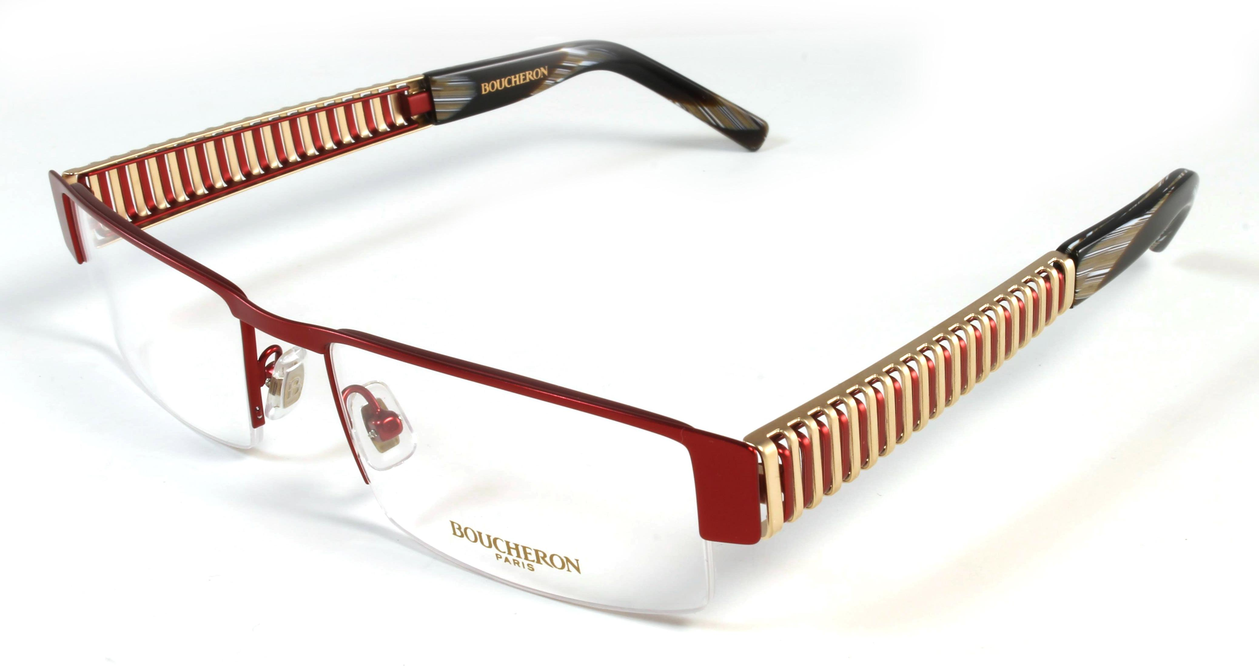 Boucheron Unisex Slim Rectangular Eyeglasses Red/Gold
