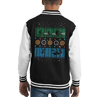 Stranger Things Upside Down Christmas Knit Pattern Kid's Varsity Jacket