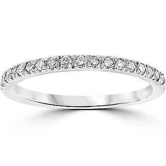1 / 3ct Pave Diamant Ehering 14K White Gold