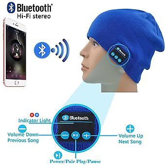 (Blue) Unisex One Size Winter Bluetooth Beanie Hat with Built-in Wireless Stereo Speaker Headphone For Gionee Steel 2