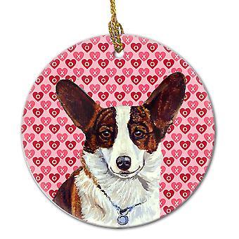 Carolines Treasures  LH9153CO1 Corgi Valentine's Love and Hearts Ceramic Ornamen