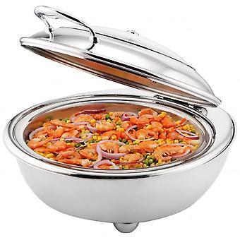 6.8lt redondo forra com placa de aquecimento elétrico inox prato aquecido com tampa de vidro