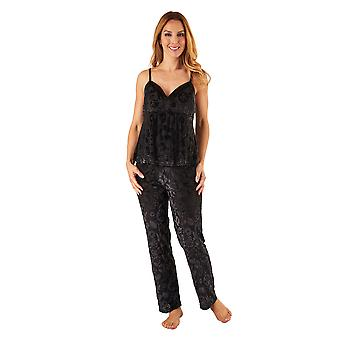Slenderella GL8712 Women's Black Floral Pajama Pyjama Set