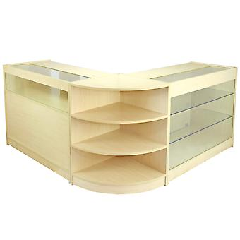Retail Counter Maple Shop Display Storage Cabinets Lockable Showcase Aquarius