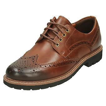Mens Clarks formali Brogues Batcombe ala - scuro in pelle Tan - UK Size 7G - EU Taglia 41 - US dimensioni 8M
