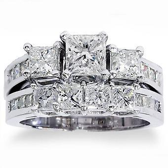3 1 / 2ct anillo de compromiso de diamante de Corte Princesa boda Set 14K oro blanco