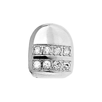 Micro pave single tooth XL Grill - one size fits all - silver