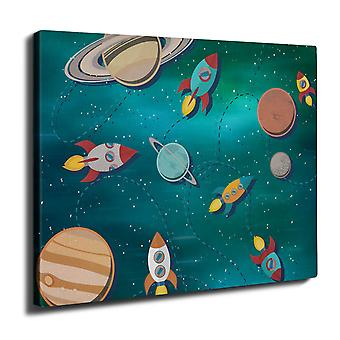 Space Exploration Wall Art Canvas 40cm x 30cm | Wellcoda