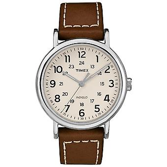 Timex Mens Weekender Brown Leather Strap White Dial TW2R42400 Watch