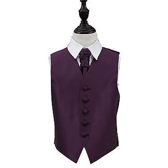 Cadbury Purple Solid Check Wedding Waistcoat & Cravat Set for Boys