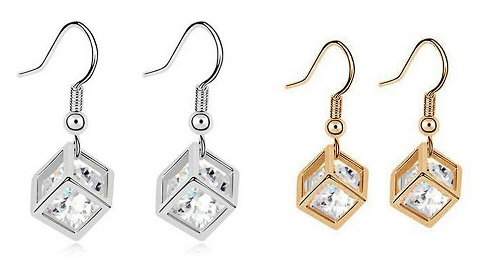 Crystal in a Cube Droplet Earrings - Gold