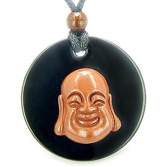 Amulett glücklich lachend Buddha Medaillon in schwarzem Onyx roter Jaspis Magie treibt Anhänger Halskette