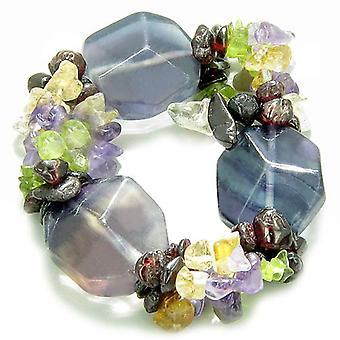 Amulet grote Faceted fluoriet kristallen Garnet Peridot Citrien, Amethist Aura ProtectiBracelet