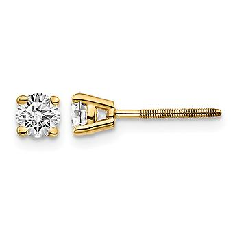 1/2 Carat (ctw VS2-SI1, G-H-I) Round Diamond Solitaire Stud Earrings in 14K Yellow Gold