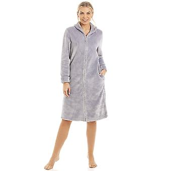 Camille Womens Ex Marks & Spencers Grey Fleece Short Length Housecoat