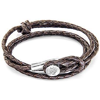Anker og besætningen Dundee sølv og læder armbånd - mørkebrun