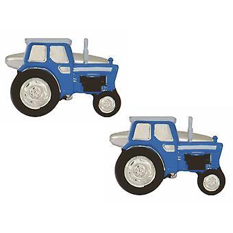 Zennor Tractor Cufflinks - Blue/Silver