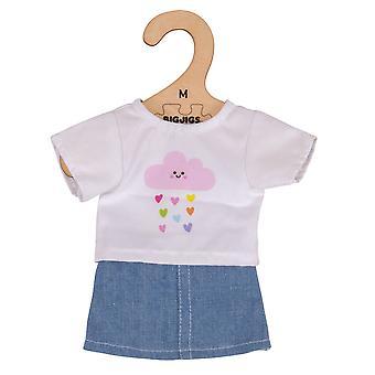 Bigjigs lelut muhkeat valkoinen t-paita/Teachers & Denim hame (34cm) pehmeä riepu nukke asu