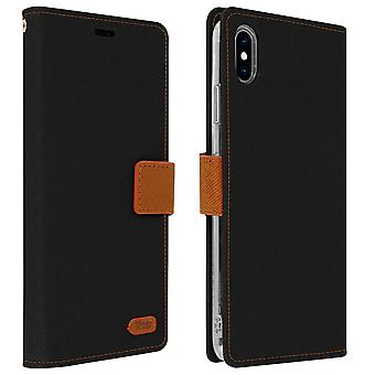 Roar flip wallet case, built-in card slot & stand for iPhone XS Max - Black