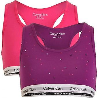 Calvin Klein Girls 2 Pack moderni puuvilla Bralette, Viva Pink/Bold Violet Hearts, Medium