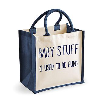 Medium Jute Bag Baby Stuff I Used To Be Fun Navy Blue