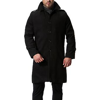 Casaco longo One-Breasted sólido Trenchcoat Cloudstyle masculino