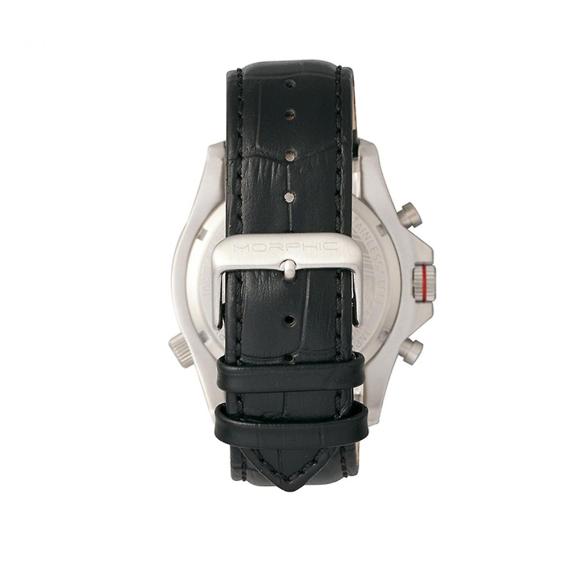 Morphic M36 Series Leather-Band Chronograph Watch - Silver/White