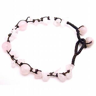 Pietra di quarzo rosa braccialetto intrecciato w / perline di quarzo rosa rosa
