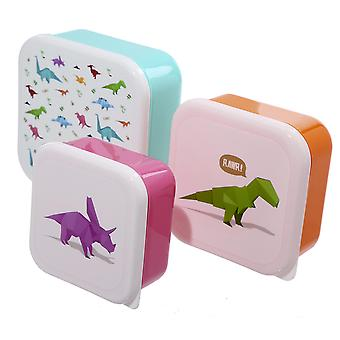 Boîtes à lunch dinosaure scénographie par Jack Evans 3 set, turquoise/rose/orange, imprimé, 100 % plastique.