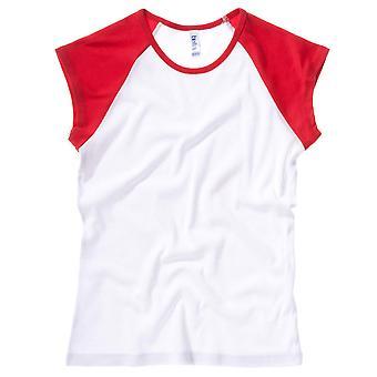 Bella Canvas Ladies Baby Rib Cap Sleeve Contrast Raglan T-Shirt