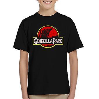 Godzilla Park Jurassic Logo Kid's T-Shirt