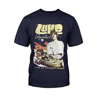 Star Wars Kids T Shirt Luke Skywalker Rock Poster new Official Mens Navy Blue