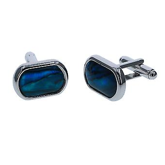 Relda Inlaid Blue Paua Rounded Rectangle Gents/Mens Cufflinks