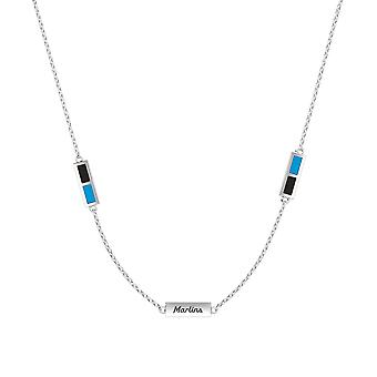 Miami Marlins Sterling Silver Engraved Triple Station Necklace In Black and Sky Blue
