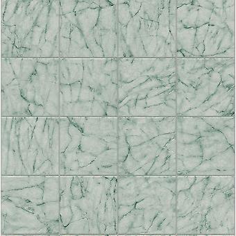 Teal Green Marble Tile Effect Fond d'écran Réaliste Cuisine Salle de bains Embossed